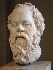Portrait of Socrates. Marble, Roman artwork (1st century), perhaps a copy of a lost bronze statue made by Lysippos