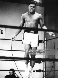 Heavyweight boxer Muhammad Ali in training at the Houston Astrodome in Texas for his upcoming bout with Ernie Terrell, 31st January 1967. Ali beat Terrell on 6th February, winning the WBA Heavyweight Title. (Photo by Central Press/Hulton Archive/Getty Images)